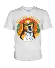 Mens Best Dog Dad Ever Retro Vintage V-Neck T-Shirt thumbnail