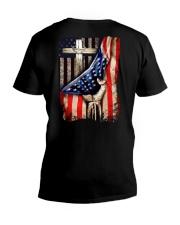 Cross Christ American Flag V-Neck T-Shirt thumbnail