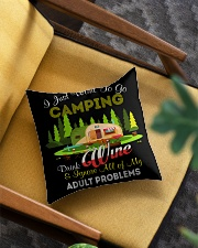 CAMPING AND WINE Square Pillowcase aos-pillow-square-front-lifestyle-07