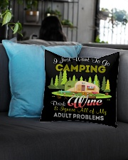CAMPING AND WINE Square Pillowcase aos-pillow-square-front-lifestyle-08