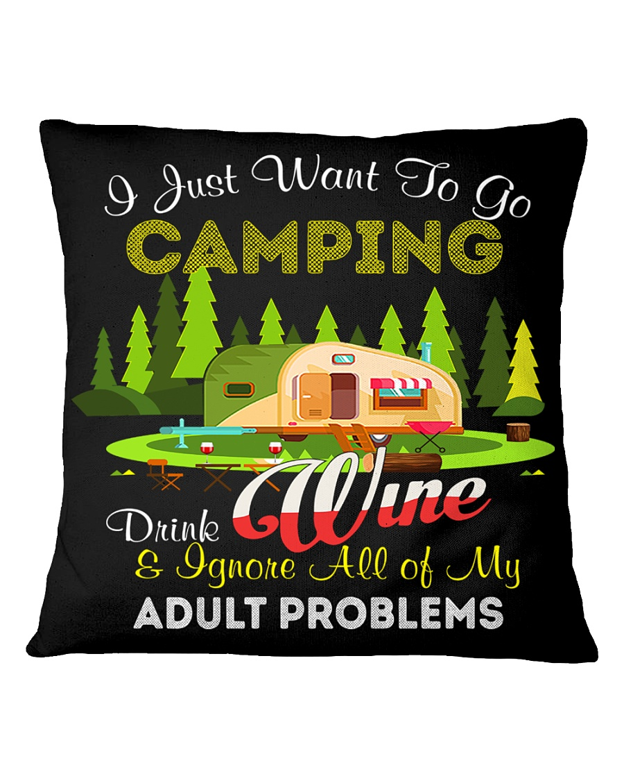 CAMPING AND WINE Square Pillowcase