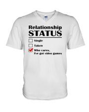 Relationship Status Video Games V-Neck T-Shirt thumbnail