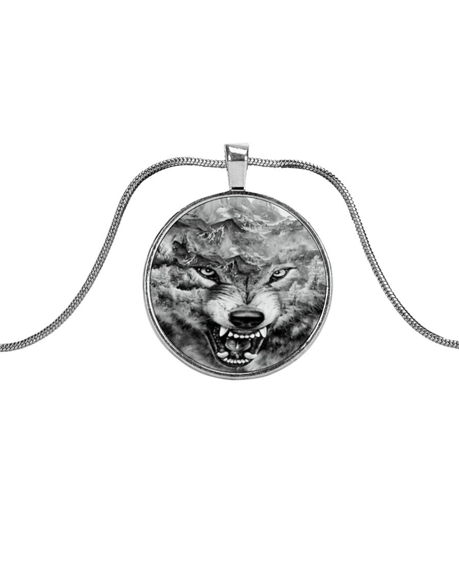 I LOVE WOLF Metallic Circle Necklace