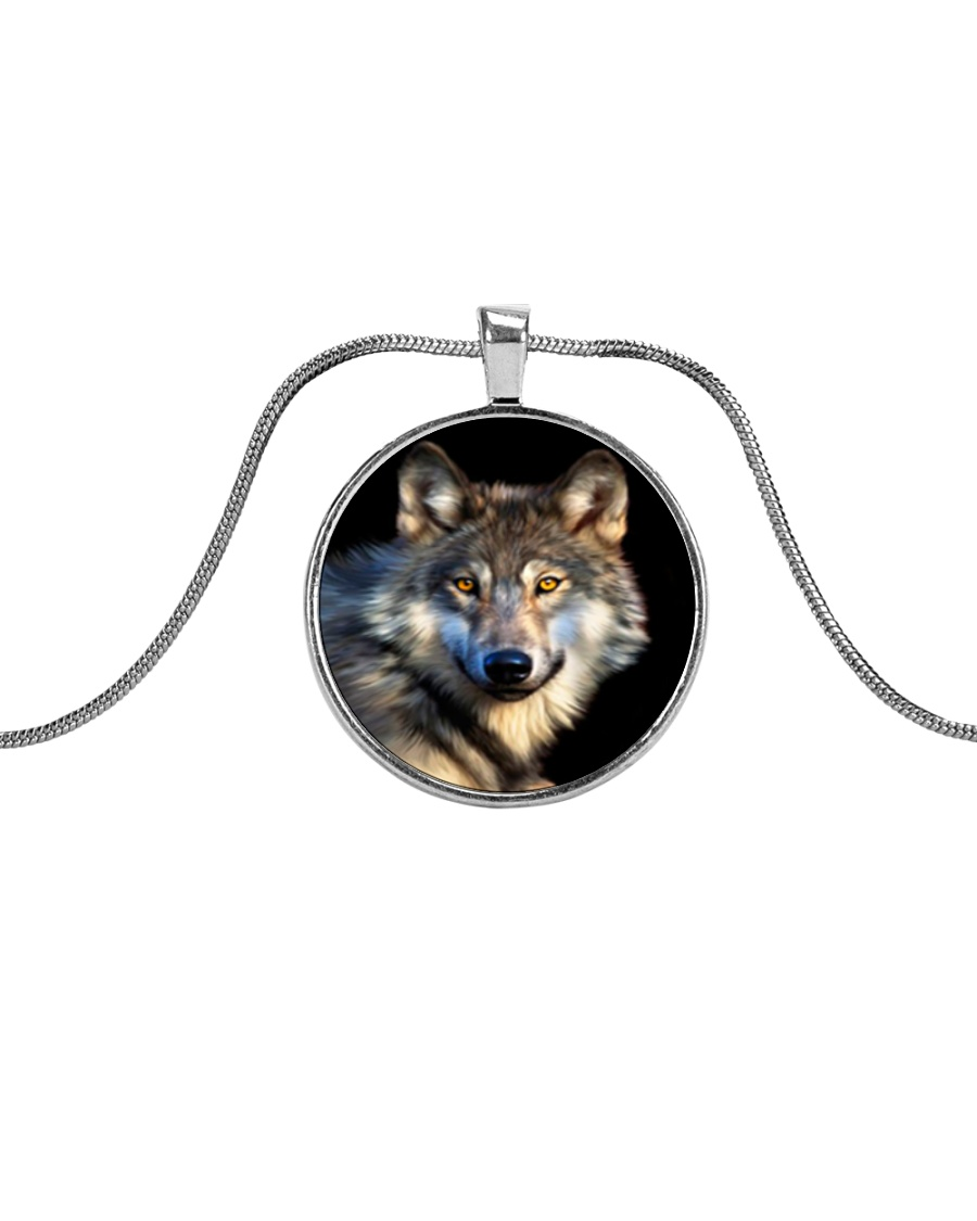 I LOVE WOLF Metallic Circle Necklace