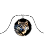 I LOVE WOLF Metallic Circle Necklace front
