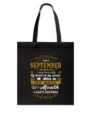 IM A SEPTEMBER WOMAN BORN WITH HEART ON SLEEVE Tote Bag thumbnail