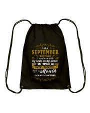 IM A SEPTEMBER WOMAN BORN WITH HEART ON SLEEVE Drawstring Bag tile