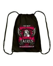 TAURUS GIRL I'M NOT SUPER WOMAN Drawstring Bag thumbnail