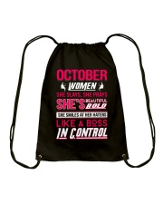 OCTOBER WOMEN SHE SLAYS SHE PRAYS Drawstring Bag thumbnail