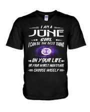 JUNE GIRL BEST OR WORST CHOOSE WISELY V-Neck T-Shirt thumbnail