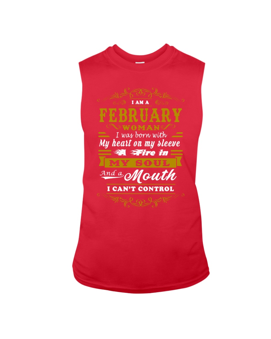 IM A FEBRUARY WOMAN BORN WITH HEART ON SLEEVE Sleeveless Tee