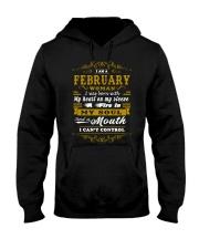 IM A FEBRUARY WOMAN BORN WITH HEART ON SLEEVE Hooded Sweatshirt thumbnail