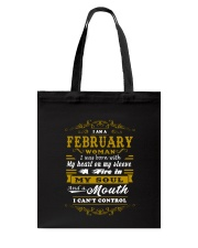 IM A FEBRUARY WOMAN BORN WITH HEART ON SLEEVE Tote Bag tile