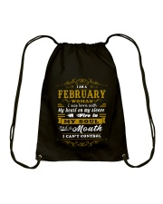 IM A FEBRUARY WOMAN BORN WITH HEART ON SLEEVE Drawstring Bag tile