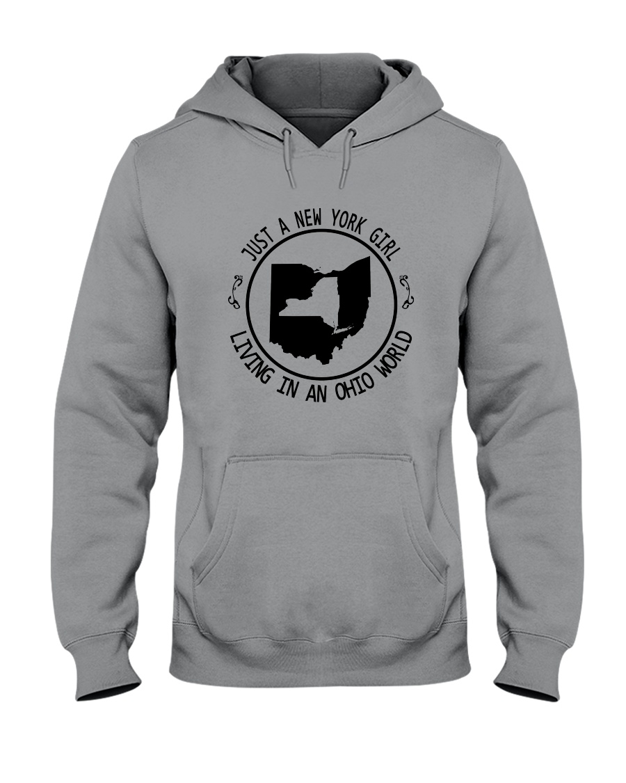 NEW YORK GIRL LIVING IN OHIO WORLD Hooded Sweatshirt