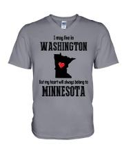 LIVE IN WASHINGTON BUT BELONG TO MINNESOTA V-Neck T-Shirt thumbnail