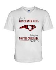 JUST A WISCONSIN GIRL IN A NORTH CAROLINA WORLD V-Neck T-Shirt thumbnail
