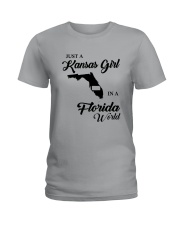 JUST A KANSAS GIRL IN A FLORIDA WORLD Ladies T-Shirt front