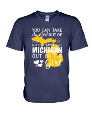 YOU CAN'T TAKE MICHIGAN OUT OF THE GIRL V-Neck T-Shirt thumbnail