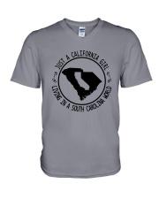 CALIFORNIA GIRL LIVING IN SOUTH CAROLINA WORLD V-Neck T-Shirt thumbnail