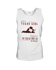 JUST A TEXAS GIRL IN A VIRGINIA WORLD Unisex Tank thumbnail
