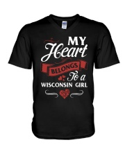 MY HEART BELONGS TO A WISCONSIN GIRL V-Neck T-Shirt thumbnail