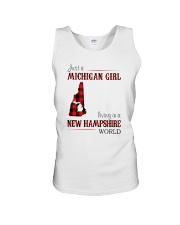 JUST A MICHIGAN GIRL IN A NEW HAMPSHIRE WORLD Unisex Tank thumbnail