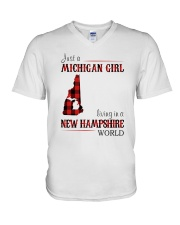 JUST A MICHIGAN GIRL IN A NEW HAMPSHIRE WORLD V-Neck T-Shirt thumbnail