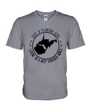 FLORIDA GIRL LIVING IN WEST VIRGINIA WORLD V-Neck T-Shirt thumbnail