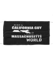 JUST A CALIFORNIA GUY IN A MASSACHUSETTS WORLD Cloth face mask thumbnail
