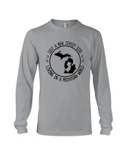 NEW JERSEY GIRL LIVING IN MICHIGAN WORLD Long Sleeve Tee thumbnail
