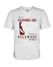 JUST A CALIFORNIA GIRL IN A DELAWARE WORLD V-Neck T-Shirt thumbnail