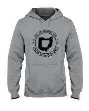 ARKANSAS GIRL LIVING IN OHIO WORLD Hooded Sweatshirt front