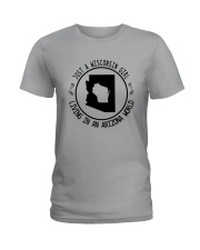 WISCONSIN GIRL LIVING IN ARIZONA WORLD Ladies T-Shirt thumbnail