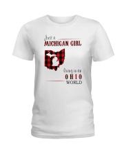 JUST A MICHIGAN GIRL IN AN OHIO WORLD Ladies T-Shirt thumbnail