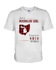 JUST A MICHIGAN GIRL IN AN OHIO WORLD V-Neck T-Shirt thumbnail