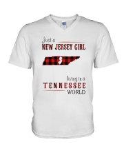 JUST A NEW JERSEY GIRL IN A TENNESSEE WORLD V-Neck T-Shirt thumbnail