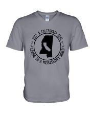 CALIFORNIA GIRL LIVING IN MISSISSIPPI WORLD V-Neck T-Shirt thumbnail