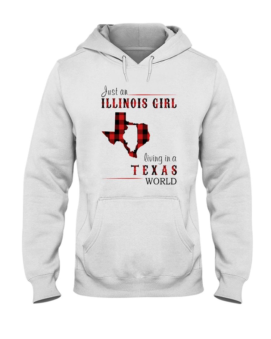 JUST AN ILLINOIS GIRL IN A TEXAS WORLD Hooded Sweatshirt