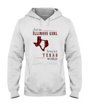 JUST AN ILLINOIS GIRL IN A TEXAS WORLD Hooded Sweatshirt front
