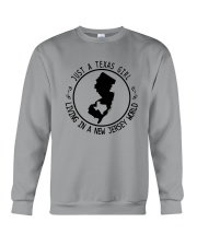 TEXAS GIRL LIVING IN NEW JERSEY WORLD Crewneck Sweatshirt thumbnail