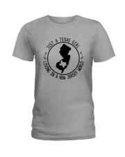 TEXAS GIRL LIVING IN NEW JERSEY WORLD Ladies T-Shirt thumbnail