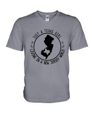 TEXAS GIRL LIVING IN NEW JERSEY WORLD V-Neck T-Shirt thumbnail
