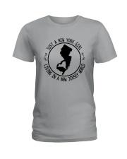 NEW YORK GIRL LIVING IN NEW JERSEY WORLD Ladies T-Shirt thumbnail
