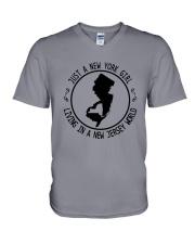 NEW YORK GIRL LIVING IN NEW JERSEY WORLD V-Neck T-Shirt thumbnail