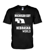 JUST A MICHIGAN GUY IN A NEBRASKA WORLD V-Neck T-Shirt thumbnail