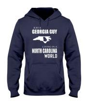 JUST A GEORGIA GUY IN A NORTH CAROLINA WORLD Hooded Sweatshirt front