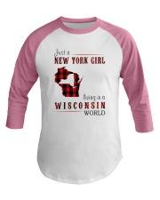 JUST A NEW YORK GIRL IN A WISCONSIN WORLD Baseball Tee thumbnail