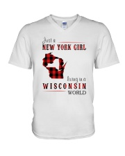 JUST A NEW YORK GIRL IN A WISCONSIN WORLD V-Neck T-Shirt thumbnail