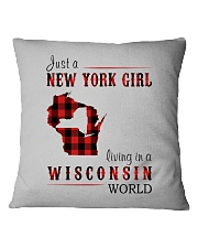 JUST A NEW YORK GIRL IN A WISCONSIN WORLD Square Pillowcase thumbnail